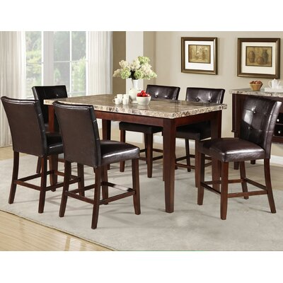 Crescent Marble Counter Height Dining Table