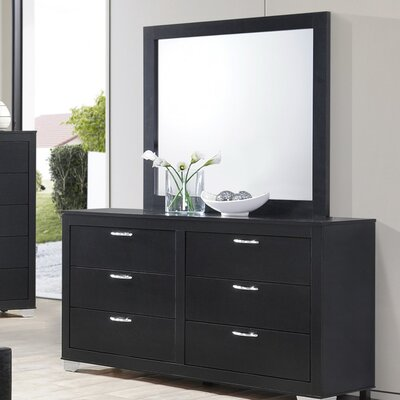 Belding 6 Drawer Dresser with Mirror Color: Black
