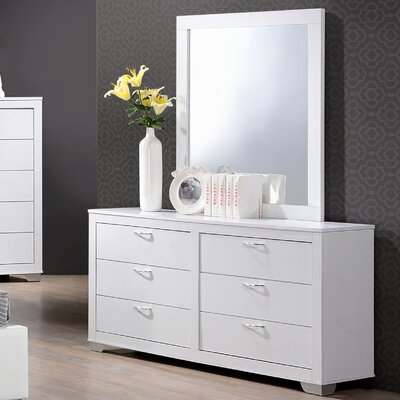Belding 6 Drawer Dresser with Mirror Color: White