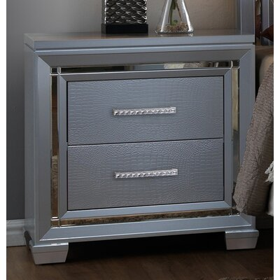 Luca 2 Drawer Nightstand Color: Silver
