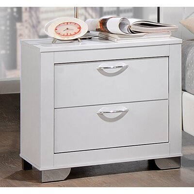 Brahma 2 Drawer Nightstand Finish: White