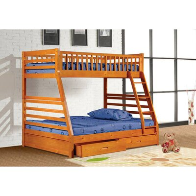 Alyce Twin over Full Bunk Bed with Drawers Color: Oak