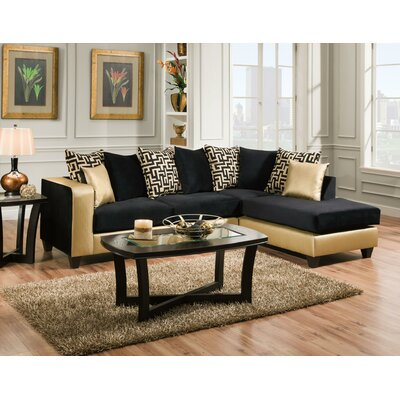 Borrero Sectional Upholstery: Black/Gold