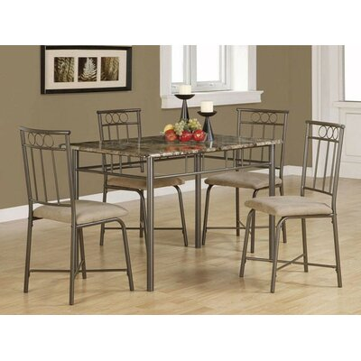 Little Elm 5 Piece Dining Set Upholstery: Tan