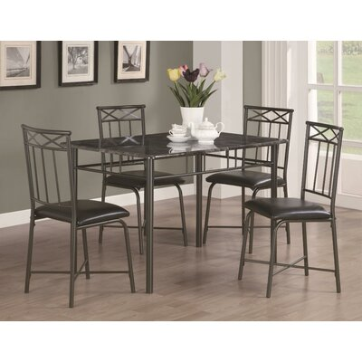Little Elm 5 Piece Dining Set Upholstery: Black