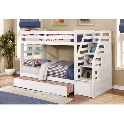 Cosmo Twin over Twin Bunk Bed with Trundle and Storage Color: White