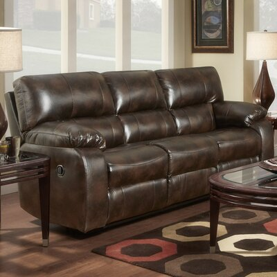 Caroline  Leather Reclining Sofa Upholstery: Chocolate