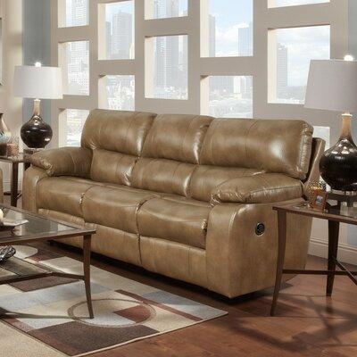 Caroline  Leather Reclining Sofa Upholstery: Taupe