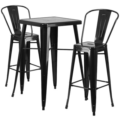 Fullmer 3 Piece Pub Table Set Finish: Black