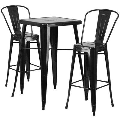 Suruga 3 Piece Pub Table Set Finish: Black
