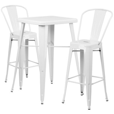 Fullmer 3 Piece Pub Table Set Finish: White