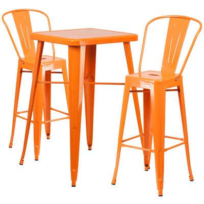 Suruga 3 Piece Pub Table Set Color: Orange