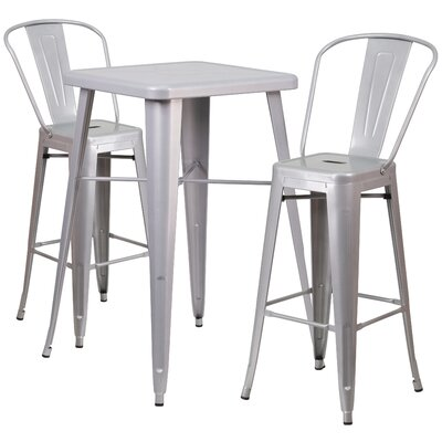 Suruga 3 Piece Pub Table Set Finish: Silver