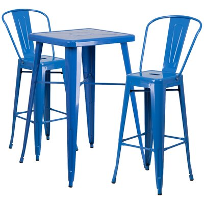 Suruga 3 Piece Pub Table Set Color: Blue