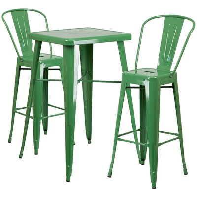 Suruga 3 Piece Pub Table Set Finish: Green