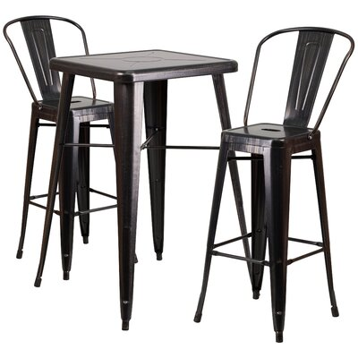 Suruga 3 Piece Pub Table Set Color: Black / Antique Gold