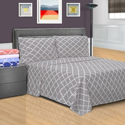 Guilderland 300 Thread Count 100% Cotton Sheet Set Color: Gray, Size: Full