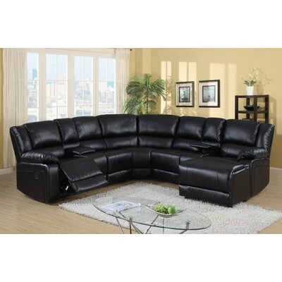 Bandini Reclining Sectional Upholstery: Black