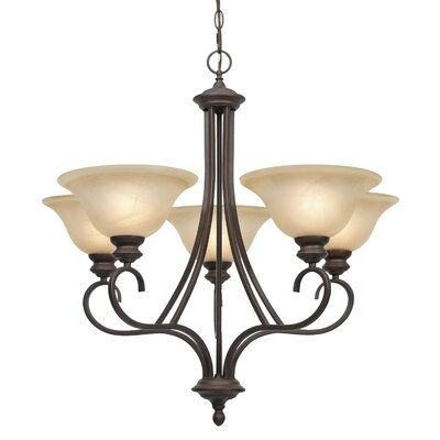 Newson 5-Light Shaded Chandelier Finish: Rubbed Bronze