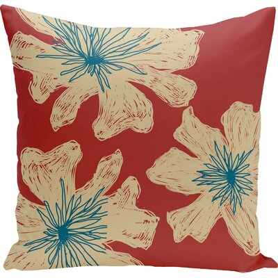 Grover Floral Throw Pillow Size: 18 H x 18 W, Color: Buddha / Ginger / Teal