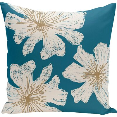 Arkwright Floral Throw Pillow Size: 16 H x 16 W, Color: Teal / Rattan