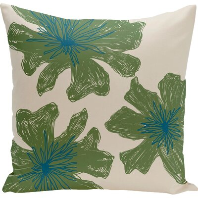 Grover Floral Throw Pillow Color: Bisque / Bamboo, Size: 18 H x 18 W