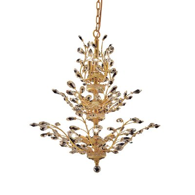 Orchid 13-Light Crystal Chandelier Finish: Gold, Crystal Trim: Elegant Cut