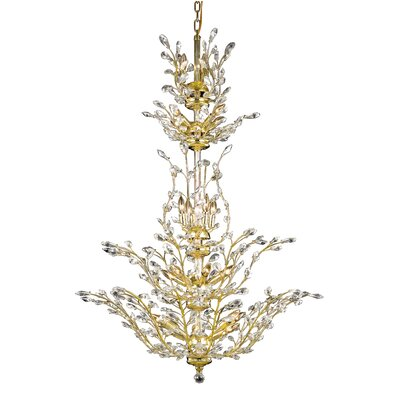 Orchid 25-Light Crystal Chandelier Crystal Grade: Elegant Cut, Finish: Gold