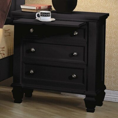 Rent to own Sankaty 3 Drawer Nightstand Finish:...