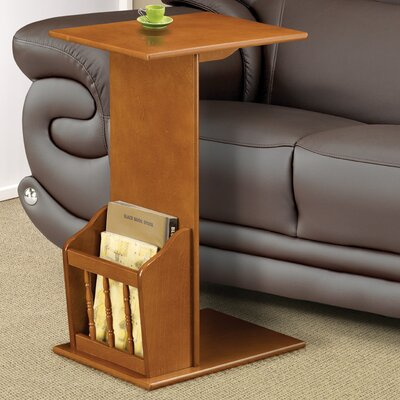 End Table with Magazine Rack in Oak