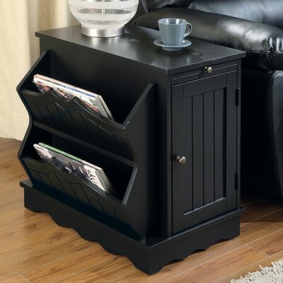 Yuma Side Table with Magazine Rack in Black