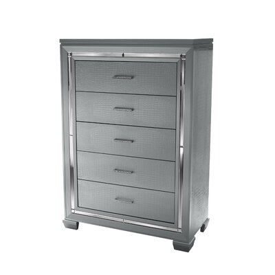 Luca 5 Drawer Dresser Color: Silver
