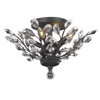 Giovanni 4-Light Flush Mount Finish: Dark Bronze, Crystal Grade: Elegant Cut