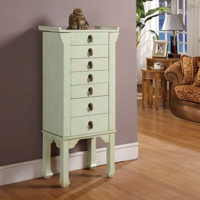 Ningbo Way Six Drawer Jewelry Armoire in Distressed Rustic Green