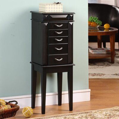 Wildon Home Grandport Five Drawer Jewelry Armoire in Black at Sears.com
