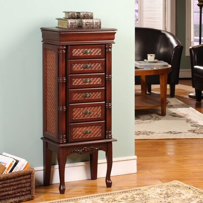 Mandalay Classic Jewelry Armoire with Mirror Finish: Dark Brown