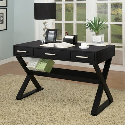 Bicknell Writing Desk in White - Finish: Black