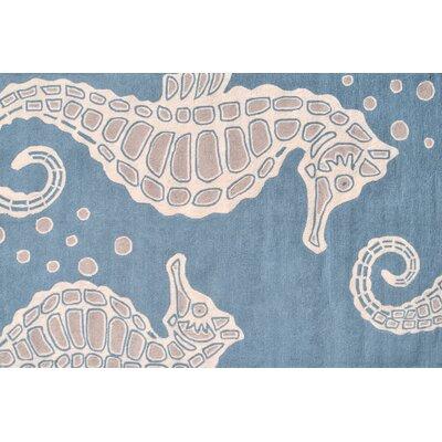 Seahorse Aqua Indoor/Outdoor Area Rug Rug Size: 5 x 8