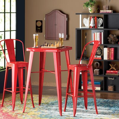 Suruga 3 Piece Pub Table Set Finish: Red