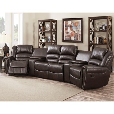 Abbie Home Theater Recliner (Row of 4) Upholstery: Brown