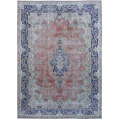 Vintage Hand-Knotted Coral/Blue Area Rug