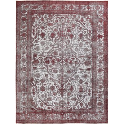 Vintage Hand-Knotted Red/White Area Rug