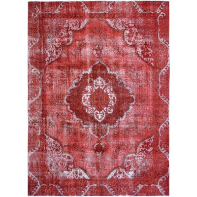 Vintage Hand-Knotted Red/Gray Area Rug