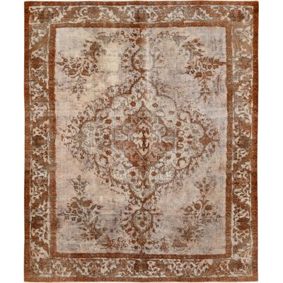 Vintage Hand-Knotted Orange/Beige Area Rug