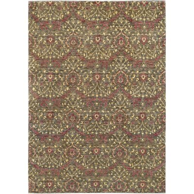Hand-Knotted Green/Red Area Rug