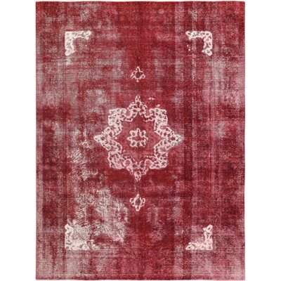 Vintage Hand-Knotted Red/Beige Area Rug