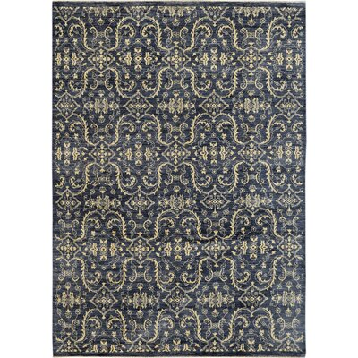 Hand-Knotted Navy Blue/Beige Area Rug