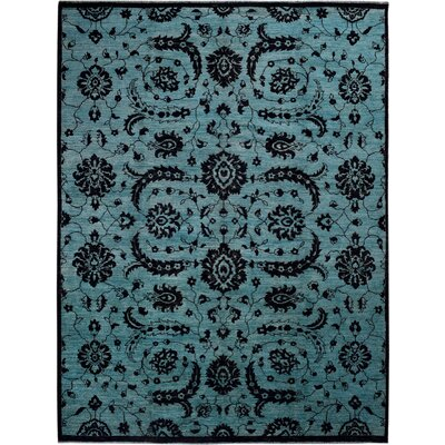 Hand-Knotted Blue/Black Area Rug