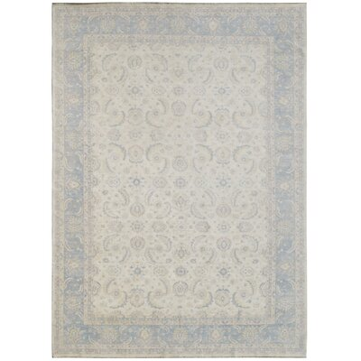 Hand-Knotted Ivory/Blue Area Rug