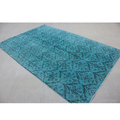 Vintage Hand-Knotted Blue/Black Area Rug